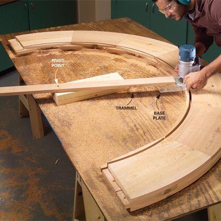 Cutting the perfect circle (a frame for a big, beautiful stained glass attic window.)