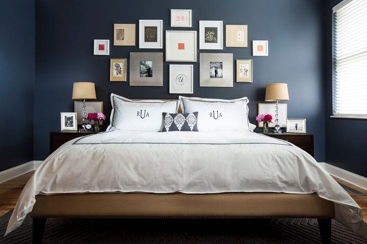 dark blue bedroom design decor ideas with photo frame decoration