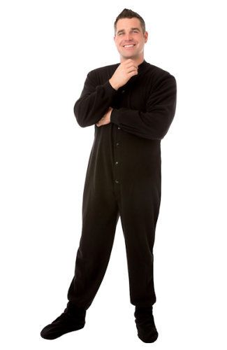 Check out Micro Polar Fleece Adult Footed Onesie Pajamas in Black for Men & Women at Big Feet Footed Onesie Pajamas