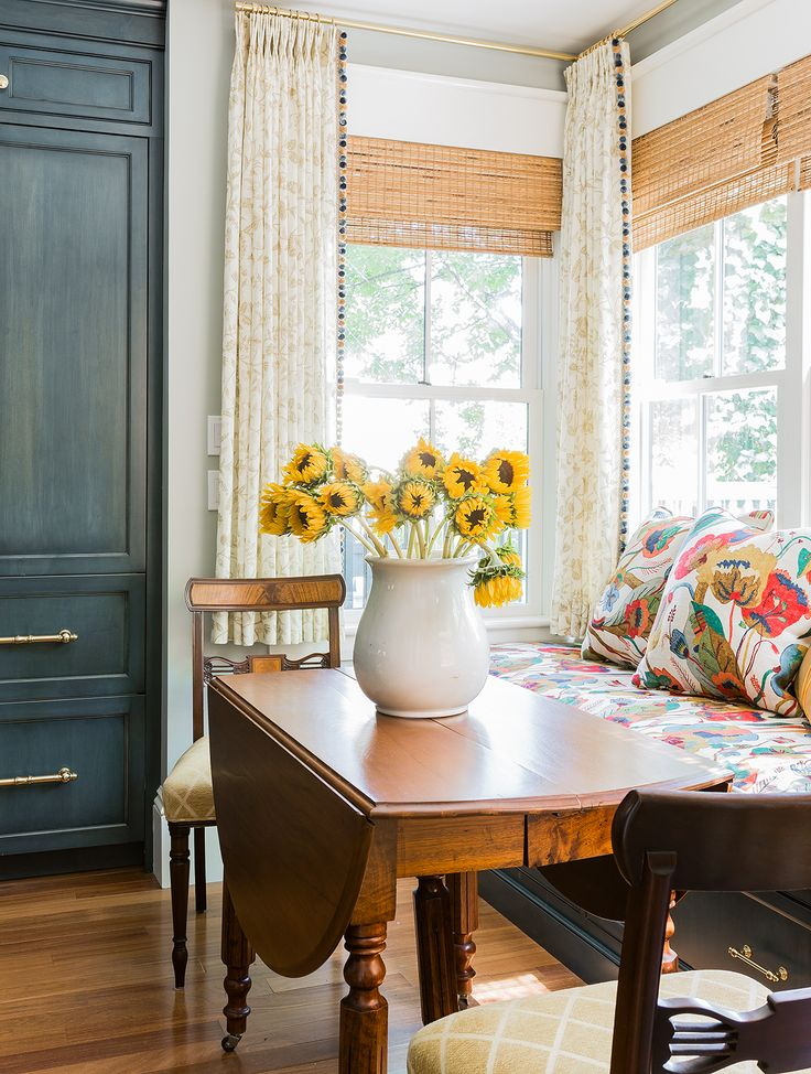 This Old House Charlestown By Kathy Marshall See More Breakfast Addition With Lee Jofa And Kathryn Ireland Fabrics Custom Blue Kitchen Brass