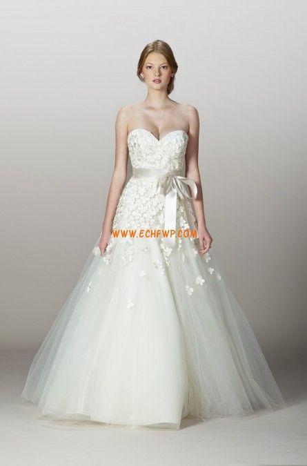Traîne moyenne Tulle Brillant & Séduisant Robes de mariée 2014