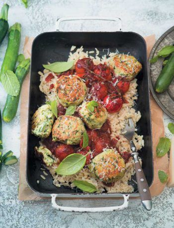 """Cheesy baby marrow """"meatballs"""" with orzo and spicy red wine sauce"""