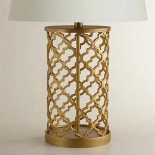 World Market Distressed Gold Moroccan Table Lamp Base $50 (vs $435 at Neiman Marcus)