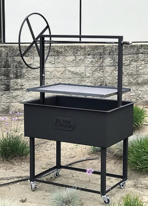 Santa Maria Ranch Hand BBQ Grill with Rotisserie by JD Fabrications