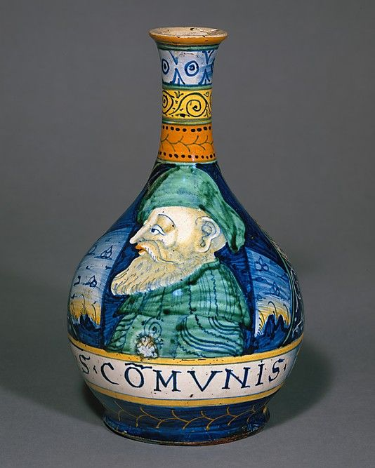 Apothecary bottle (fiasca da farmacia)  Date: ca. 1530–40 Culture: Italian, Castelli Medium: Maiolica (tin-glazed earthenware) Dimensions: Height: 9 15/16 in. (25.2 cm)