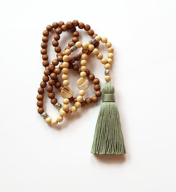 Olive green tassel beaded boho necklace by Aella Jewelry