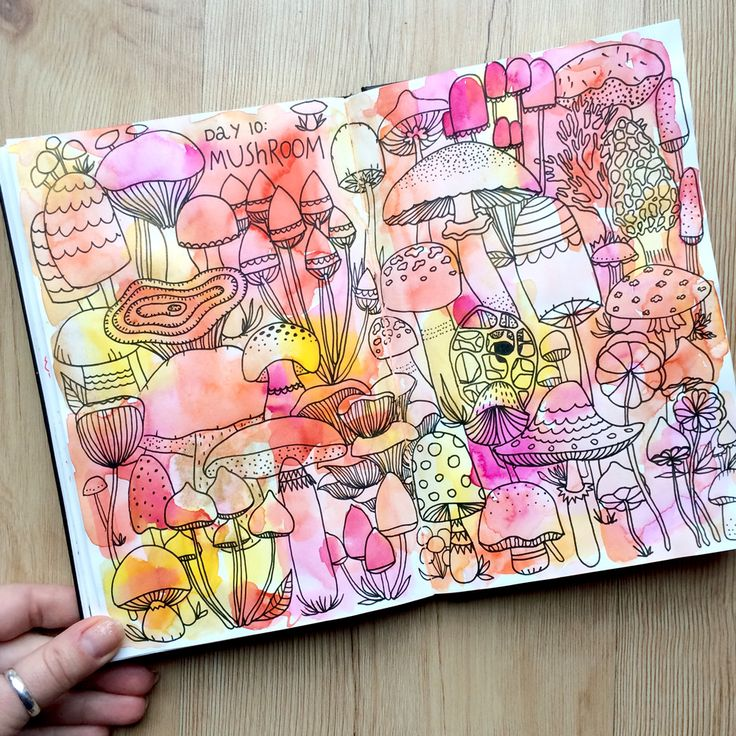 Day 10: Mushroom. Lisa Congdon's Drawing Challenge. Interpretation by Kilka Design.