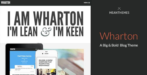 Wharton: A Big & Bold WordPress Blog Theme   http://themeforest.net/item/wharton-a-big-bold-wordpress-blog-theme/6928979?ref=damiamio         Update History Click here to view the Wharton WP Changelog About Wharton Wharton is lightweight and simple yet big and bold. Wharton can be used as photoblog-style WordPress theme for sharing your thoughts, videos, articles, quotes, audio – you can even embed Twitter status and Facebook statuses. Of course, you could use Wharton as a minimal portfolio…