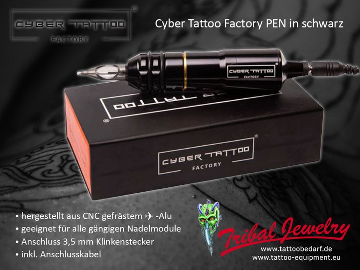 Buy now - black Cyber Tattoo Factory PEN - made from airplane aluminium - suits for all usual neadle modules. Best brands for tattoo artists at Tribal Jewelry! https://www.tattoo-equipment.eu/de/cyber-tattoo-factory-pen-schwarz #tattoobedarf #tattooequipment #tattoosupport #tattoosupply #tribaljewelrysupply #cybertattoo #cyberpen #cybertattoofactory #tattoopen #tattoos #tattoopro