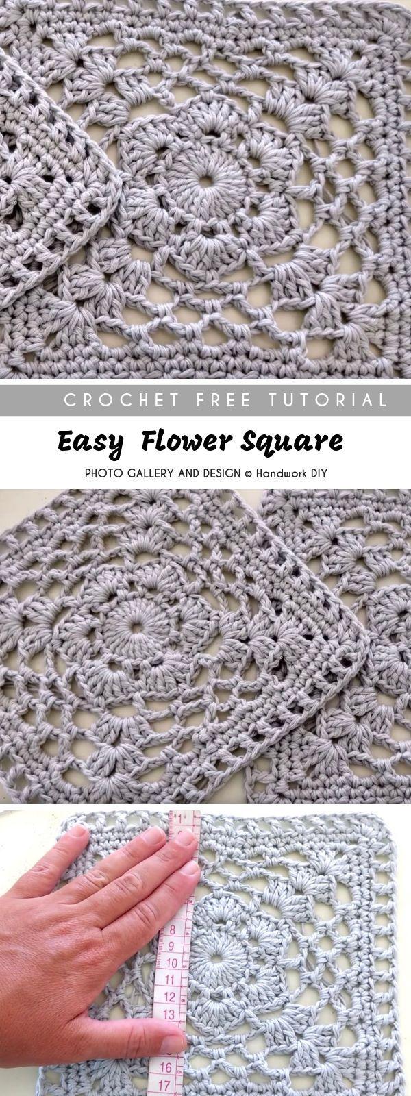 Easy Flower Crochet Square with Free TutorialPattern Center Crochet Knit