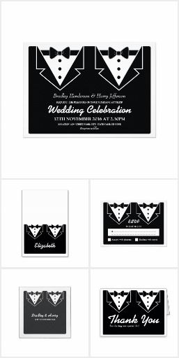 Two Grooms Wedding Collection A gay men wedding collection with two tuxedo's representing both grooms with items including invitations, stickers, rsvps, etc.