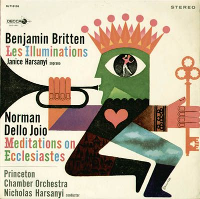 Alex Steinweiss: The cover of the recording of Benjamin Britten's Les Illuminations and Norman Dello Joio's Meditations Ecclesiastes. Signed in the famous 'Steinweiss scrawl' as used for early Columbia and Remington records.
