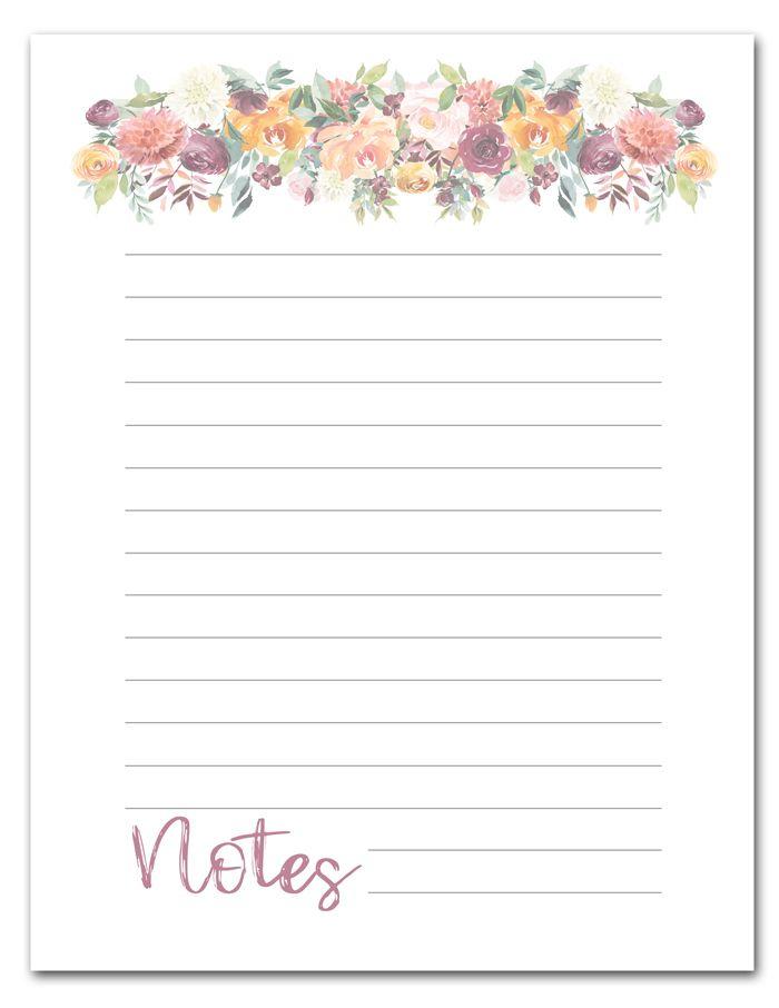 Free Printable Floral Note Page Floral Printables Free
