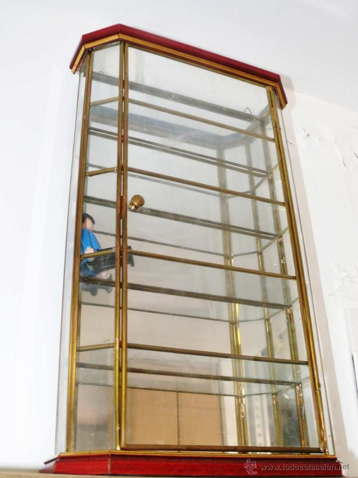 Preciosa vitrina a os 50 60 en laton madera cristal y - Vitrinas para colgar ...