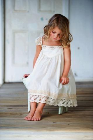 French Vanilla Dress Butter Pink Flower Trim