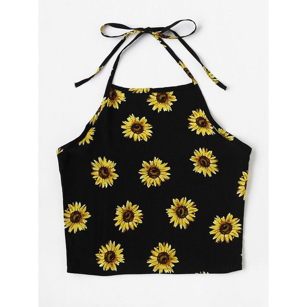Halter Neck Chrysanthemum Print Random Top (8.84 CAD) ❤ liked on Polyvore featuring tops, black, vest tops, floral tops, floral vest, floral halter top and floral print tops