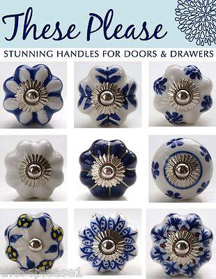 These Please Blue And White Ceramic Door S Handles Flower Drawer Kitchen Pinterest Ceramics