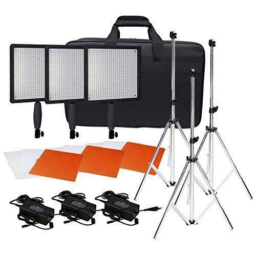 Neewer® CN-576 576PCS LED Dimmable Ultra High Power Panel Digital Camera / Camcorder Video Light Kit, including (3)CN-576 LED Video Light, (3)Adapter, (3)Light Tripod, (3)Filter Kits, (1)Light Bag  http://www.lookatcamera.com/neewer-cn-576-576pcs-led-dimmable-ultra-high-power-panel-digital-camera-camcorder-video-light-kit-including-3cn-576-led-video-light-3adapter-3light-tripod-3filter-kits-1light-ba/