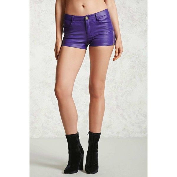 Forever21 Faux Leather Shorts ($5) ❤ liked on Polyvore featuring shorts, faux leather shorts, zipper shorts, leather look shorts, vegan leather shorts and forever 21