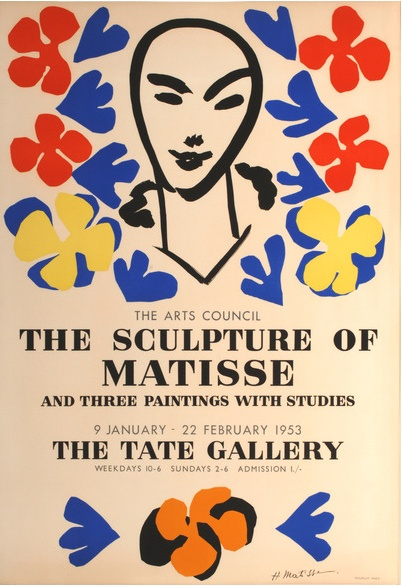 Poster by Henri Matisse (1869-1954), 1953, 'The Sculpture of Matisse', Exhibition at the Tate Gallery, London.