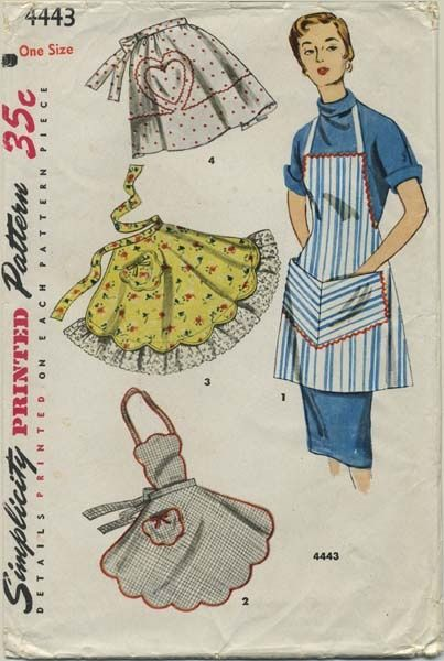 Vintage Apron Sewing Pattern | Simplicity 4443 | Year 1953 | One Size