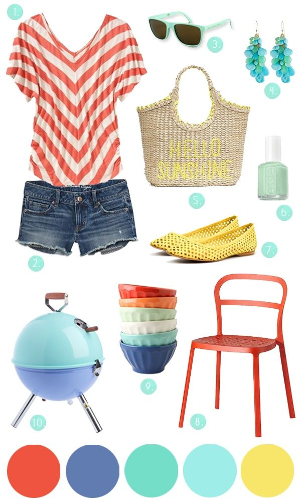 Summer Party outfit via www.thesweetestoc... Love the Hello Sunshine Kate Spade Straw bag - too bad it's no longer for sale - DIY perhaps?