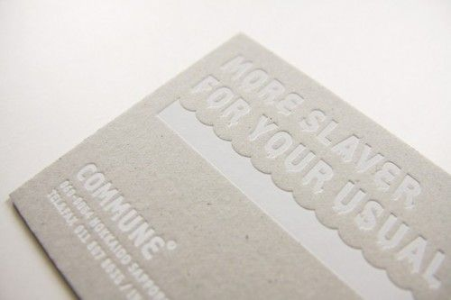 A really good example of a pressure printed business card. I can see our logo done like this.