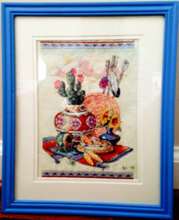 Completed Cross Stitch in Frame Native Still Life by dannileifer, $29.99