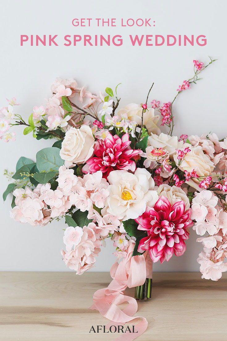 Get The Look Pink Spring Wedding Cherry Blossom Wedding Bouquet Silk Flower Wedding Bouquet Simple Wedding Flowers