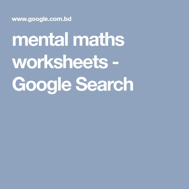 mental maths worksheets - Google Search