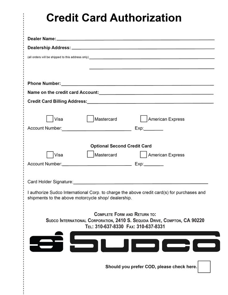sample credit card authorization letter