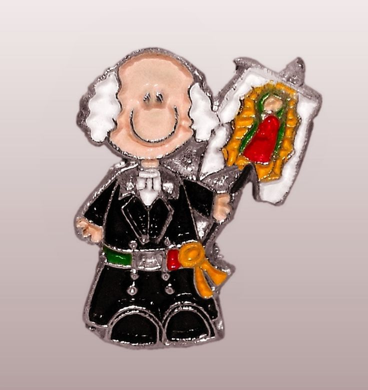 Mexican President Miguel Hidalgo, with the flag of the Virgen de Guadalupe. Metal and enamel, Independence Day (Día de la Independencia), Mexico, commemorative pin