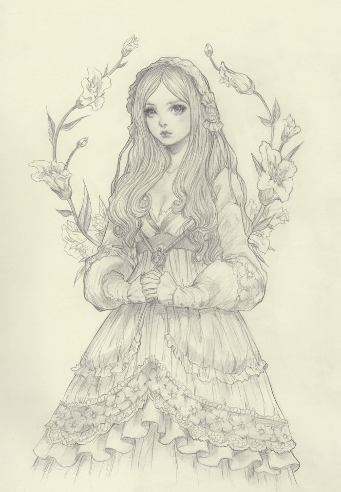 Gorgeous original pencil drawing by jdarnell i would love to have dolls styled like her drawings