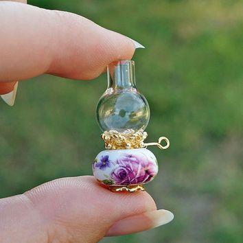 Pink Roses Dollhouse Miniature Oil Lamp Victorian Glass Hurricane