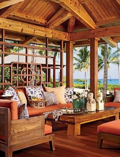 Tropical paradise on Hawaii's Kona Coast. Southeast Asian/Pacific Rim-influenced pavilion. Architect Shay Zak & Designer Douglas Durkin.
