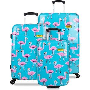 Opvallende blauw met roze flamingo kofferset van BHPPY.