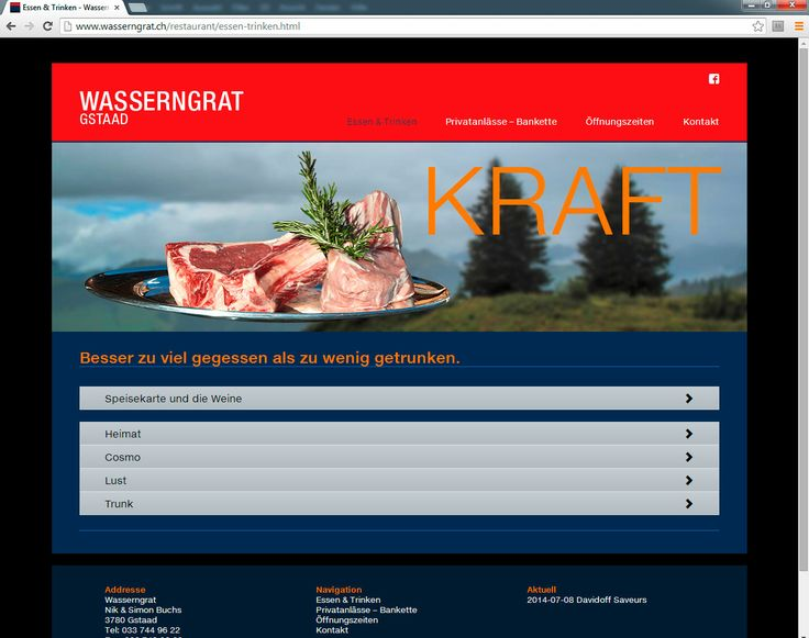 New Website for our restaurant client www.wasserngrat.ch/restaurant/ online. Whenever you like to eat perfect on top of swiss mountain, visit the place. It's great to eat and drink there.