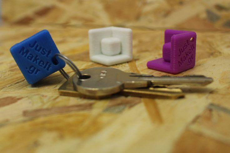 Μπρελόκ με λογότυπο, τρισδιάστατη σχεδίαση και εκτύπωση / 3d printed keychain with JustMakeIt logo