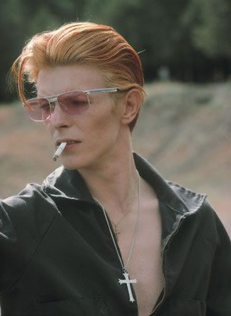 Bowie Photographed on set by Steve Schapiro.    Later used for cover of Rolling Stone February 12, 1976