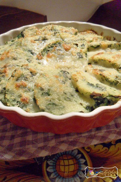 """Gnocchi alla romana con spinaci - Roman-style baked """"gnocci"""" w/creamy parm-spinach sauce, in Italian"""
