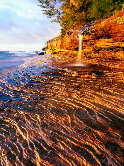 MIners Beach Falls, in the Pictured Rocks area of Michigan's Upper Peninsula. MI, USA.  The U.P. Is awesome.