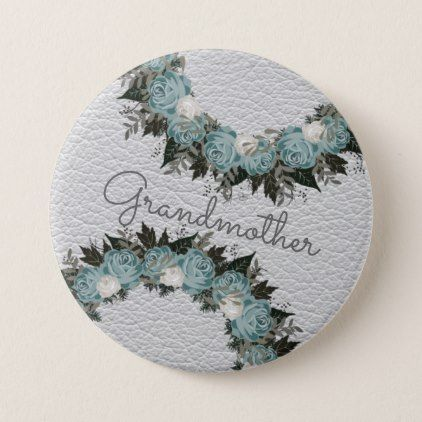 """Wreath """"Pretty Blue"""" Flowers Floral Vector Button - floral style flower flowers stylish diy personalize"""
