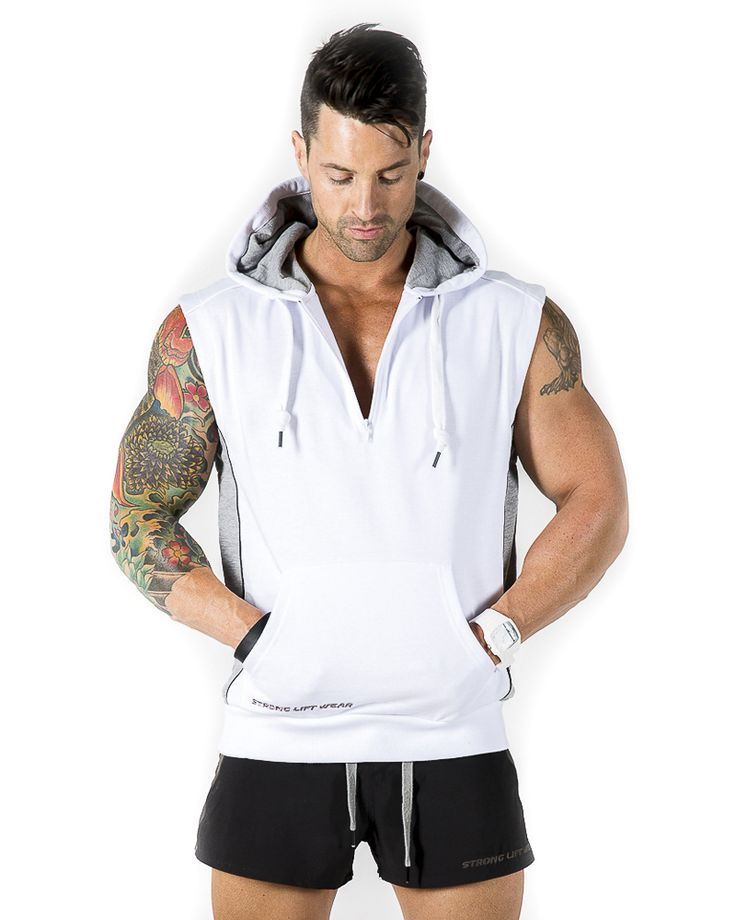 Strong lift wear sleeveless hoodie ivory http for Fitness shirts for men