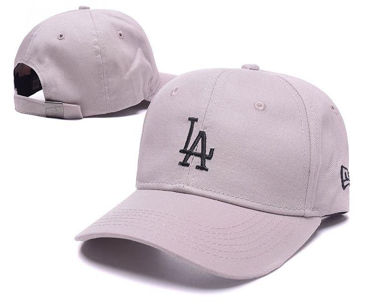 Men's / Women's Los Angeles Dodgers New Era Basic Team Logo Embroidery Adjustable Baseball Hat - Grey / Black
