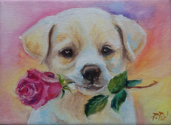 CUTE Labrador PUPPY Tiny dog PORTRAIT with rose flower for Dog