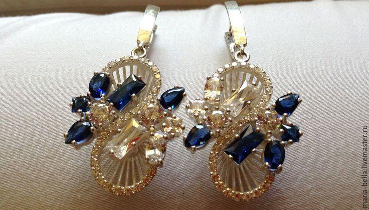 Купить Moon River. Серебряные серьги и кольцо с корундами, цирконами - разноцветный, подарок женщине
