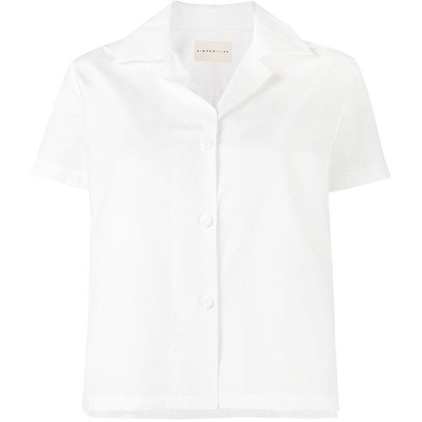 Simon Miller short sleeve Kinney shirt ($255) ❤ liked on Polyvore featuring tops, white, collared crop top, white collar shirt, white short sleeve top, short sleeve tops and white top