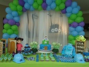 Ideas para mesa de postres monster inc
