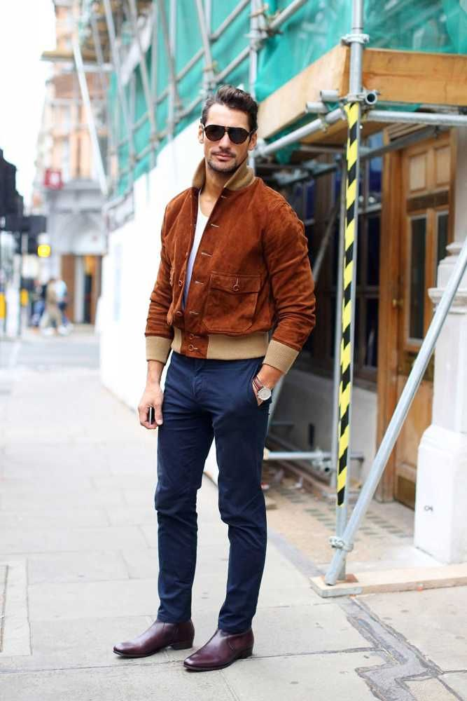 David Gandy wears suede Club Monaco bomber jacket, M&S chinos, David Pearson boots.  LC:M S/S 2016 Street Style. London.