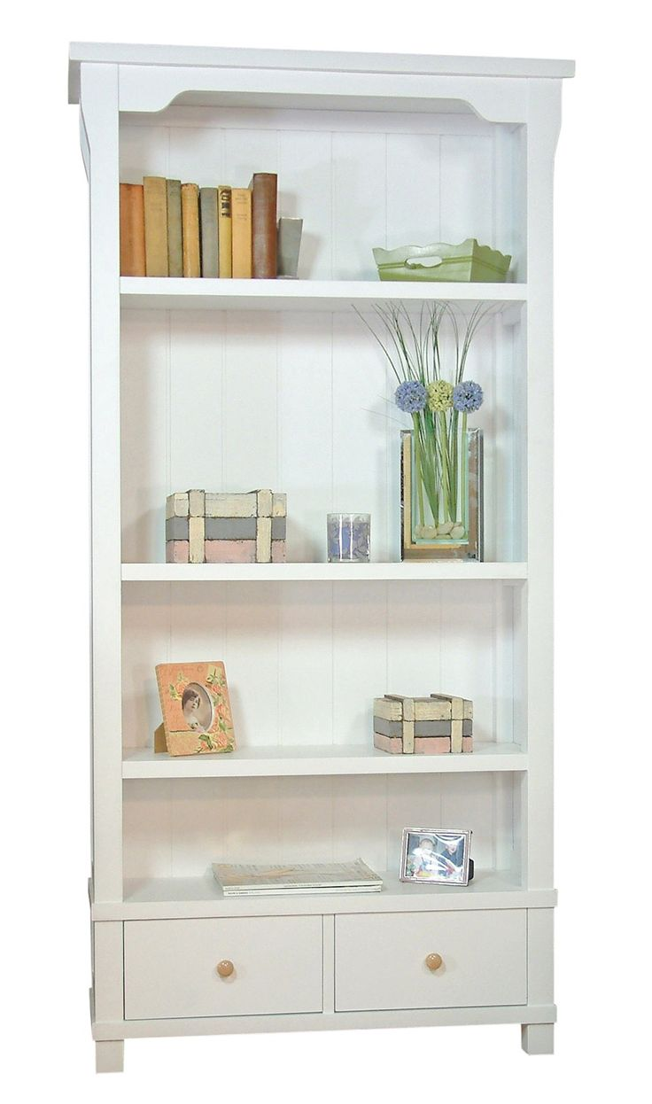 Country White Solid Wood Bookcase With Two Drawers